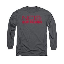 NCIS New Orleans Shirt Red Logo Long Sleeve Charcoal Tee T-Shirt