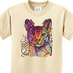 Neon Abyssinian Cat Kids Shirts