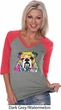 Neon Bulldog Ladies Three Quarter Sleeve V-Neck Raglan Shirt