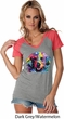 Neon Golden Retriever Ladies Contrast V-Neck Shirt