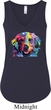 Neon Golden Retriever Ladies Flowy V-neck Tanktop