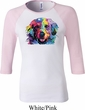 Neon Golden Retriever Ladies Raglan Shirt