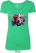Neon Golden Retriever Ladies Scoop Neck Shirt