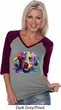 Neon Golden Retriever Ladies Three Quarter Sleeve V-Neck Raglan