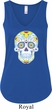 Neon Sugar Skull Ladies Flowy V-neck Tanktop