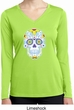 Neon Sugar Skull Ladies Moisture Wicking Long Sleeve Shirt