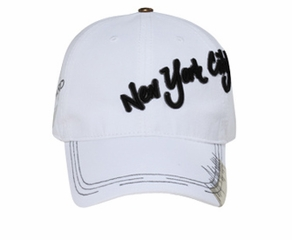 New York City 3D Hat - Lackpard Cotton Cap - White