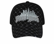 New York Metallic 3D Hat - Mesh Back Lackpard Cap - Black