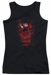 Nightmare On Elm Street Juniors Tank Top One Two Freddys Coming For You Black Tanktop