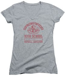 Nightmare On Elm Street Juniors V Neck Shirt Springwood High Heather Grey T-Shirt