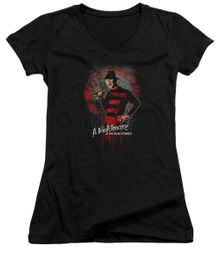 Nightmare On Elm Street Juniors V Neck Shirt Springwood Slasher Black T-Shirt