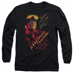 Nightmare On Elm Street Long Sleeve Shirt Freddy Claws Black Tee T-Shirt