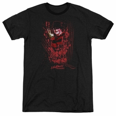 Nightmare On Elm Street One Two Freddys Coming For You Black Ringer Shirt