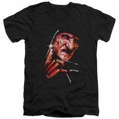 Nightmare On Elm Street Slim Fit V-Neck Shirt Freddy's Face Black T-Shirt