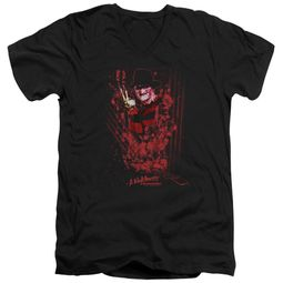 Nightmare On Elm Street Slim Fit V-Neck Shirt One Two Freddys Coming For You Black T-Shirt