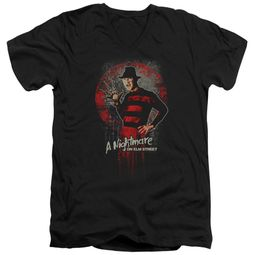 Nightmare On Elm Street Slim Fit V-Neck Shirt Springwood Slasher Black T-Shirt