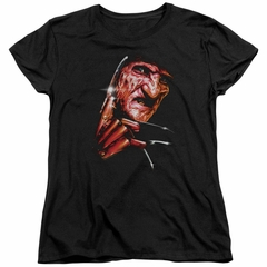 Nightmare On Elm Street Womens Shirt Freddy's Face Black T-Shirt