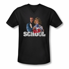 Old School Shirt Slim Fit V Neck Frank And Friend Black Tee T-Shirt