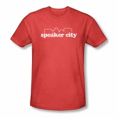 Old School Shirt Speaker City Logo Adult Heather Red Tee T-Shirt