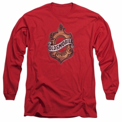 Oldsmobile Long Sleeve Shirt Detroit Emblem Red Tee T-Shirt