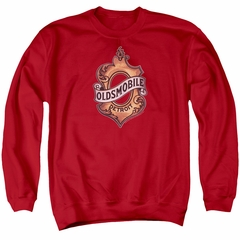 Oldsmobile Sweatshirt Detroit Emblem  Adult Red Sweat Shirt