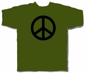 Olive Green Peace Symbol T-shirt
