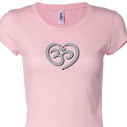 OM Heart Ladies Yoga Shirts