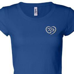 OM Heart Pocket Print Ladies Yoga Shirts