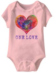 One Love Heart Funny Baby Romper Pink Infant Babies Creeper