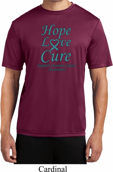 3efb0543a Ovarian Cancer Awareness Hope Love Cure Dry Wicking T-shirt - Hope ...