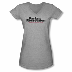 Parks And Recreation Shirt Juniors V Neck Logo Athletic Heather T-Shirt