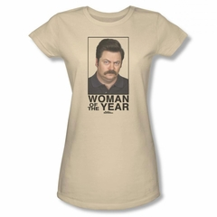 Parks And Recreation Shirt Juniors Woman Of The Year Cream T-Shirt