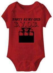 Party At My Crib BYOB Funny Baby Romper Red Infant Babies Creeper