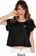 Pastel Butterfly Patch Pocket Print Ladies Boxy Tee