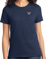 Pastel Butterfly Patch Pocket Print Ladies T-shirt