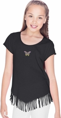 Pastel Butterfly Patch Small Print Girls Fringe T-shirt