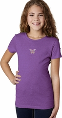 Pastel Butterfly Patch Small Print Girls T-shirt
