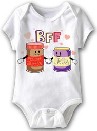 PB and J Funny Baby Romper White Infant Babies Creeper
