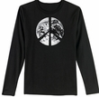 PEACE EARTH Sign Symbol Ladies Long Sleeve T-shirt - Black