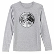 PEACE EARTH Sign Symbol Ladies Long Sleeve T-shirt - Heather Grey