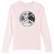 PEACE EARTH Sign Symbol Ladies Long Sleeve T-shirt - Pale Pink