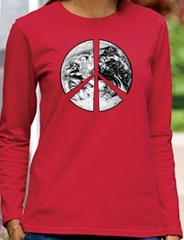 PEACE EARTH Sign Symbol Ladies Long Sleeve T-shirt - Red