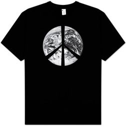 PEACE EARTH Sign Symbol Satellite Image Adult Environmental T-shirt