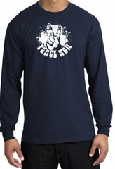 Peace Now Retro Vintage Classic Style Adult Long Sleeve T-Shirt - Navy