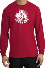 Peace Now Retro Vintage Classic Style Adult Long Sleeve T-Shirt - Red