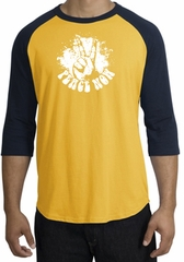 Peace Now Retro Vintage Classic Style Adult Raglan T-shirt - Gold/Navy