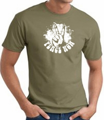 Peace Now Retro Vintage Classic Style T-shirt - Army Green