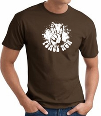 Peace Now Retro Vintage Classic Style T-shirt - Brown