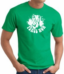 Peace Now Retro Vintage Classic Style T-shirt - Kelly Green