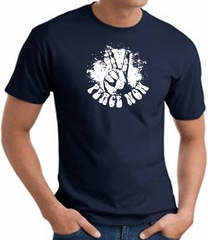 Peace Now Retro Vintage Classic Style T-shirt - Navy